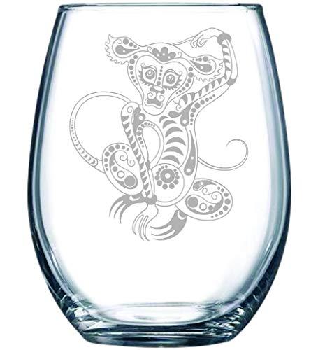 Monkey stemless wine glass, 15 oz. (flower)