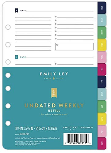 picture regarding Emilyley named : Emily Ley - UNDATED Weekly Refill - 8 ½\