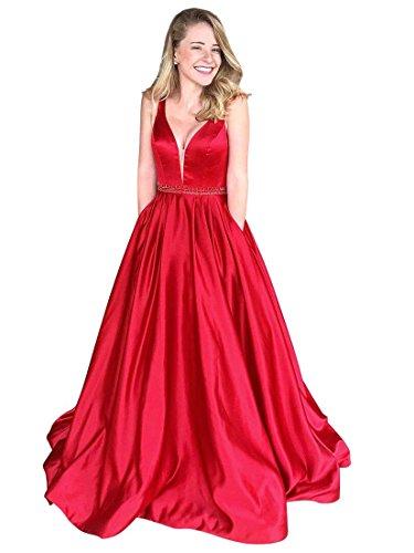 tiefem Satin Lovelybride V Rot Kleid Abendkleid Party Ausschnitt Frauen Ballkleid Lang ETqwxfS6