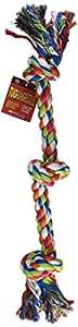 "Petrageous Designs KaleidoROPE Dog Toy, 25"" 3 Knot Rope, Bone"