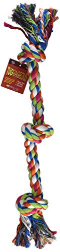 "Petrageous Designs KaleidoROPE Dog Toy, 25"" 3 Knot Rope, Bone"