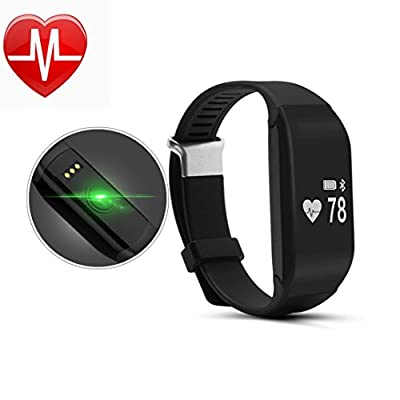 Fitness Tracker with Heart Rate Monitor ,Pashion Bluetooth Smart Bracelet Fitness Pedometer Watch Sports Activity Tracker Sleep Monitor with Touch Screen Wristband for Android IOS Smartphones