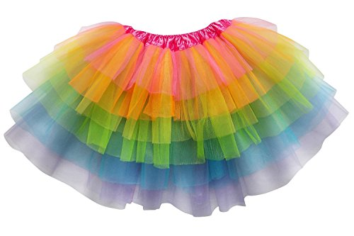 [So Sydney Adult Plus Kids Size 6 LAYER FAIRY TUTU SKIRT Halloween Costume Dress (XL (Plus Size), Neon] (Larger Ladies Halloween Costumes)