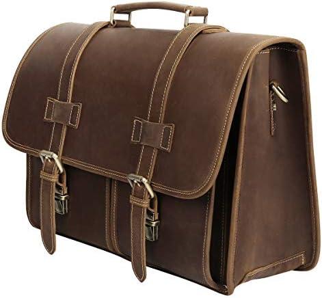 Genuine Crazy Horse Leather Vintage Briefcase Messenger Bag