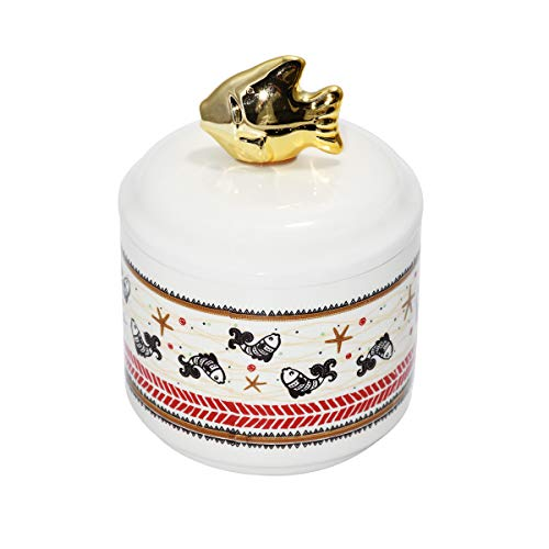 wdfpets 17.08 oz Ceramic Treat Jar, Gold Cover and Antique Fish Pattern Pet Food Container for Cat, 4 x 4 x 5.5 inches Pet Treat Jar - White