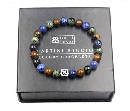 Jade, Sodalite, and Tiger Iron Beads Bracelet, Designer Beads Bracelet