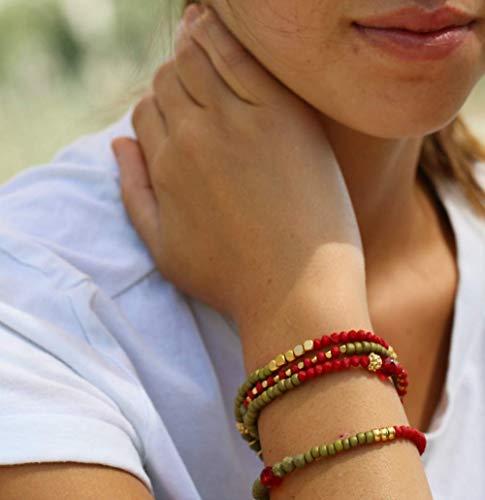 (Wrap Bracelet for Women, Colorful Beaded Green Red and Gold Layered Bracelet, Gift for Women and Girls, Unique Boho Handmade Designer Jewelry)