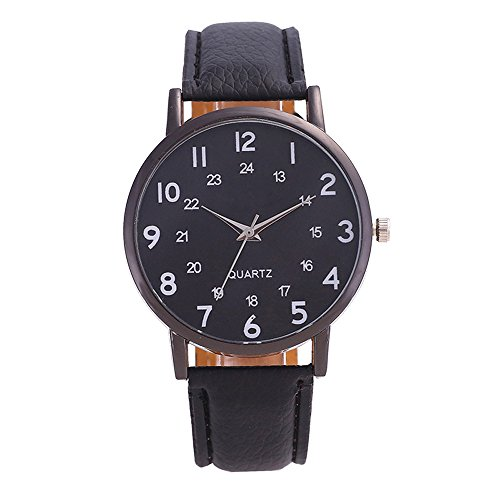 COOKI Women Quartz Watch Simple Style Number Pattern Big Face Leather Band Elegant Casual Analog Wrist Watches (Black)