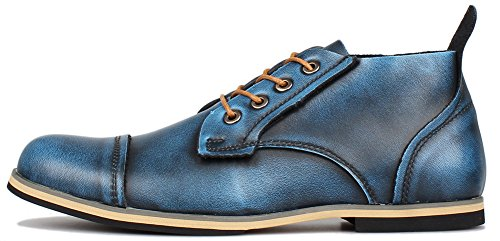 Kunsto Men's Leather Cap Toe Casual Chukka US Size 8 Blue