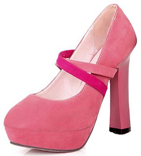 Idifu Kvinna Sexig Kors Super High Chunky Plattform Halka På Gladiator Pumpar Sandaler Rosa