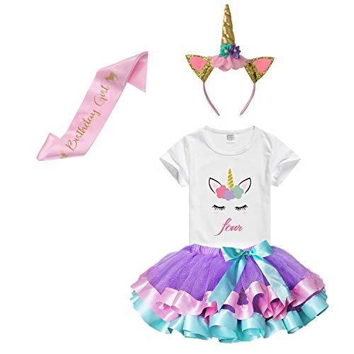 Girls Rainbow Tutu Skirt with Birthday Unicorn Tshirt & Unicorn Headband (Purple Birthday 4th, 3-4 Y)]()