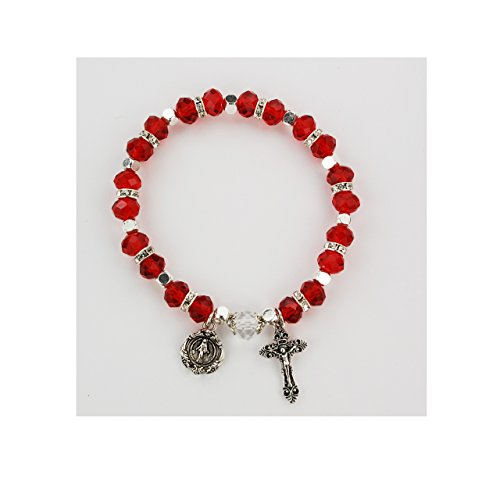 (FAUX RUBY ROSARY BRACELET, CARDED, REAL CRYSTAL RUBY BEADS WITH CRYSTAL STONE SPACER BEADS. REAL CRYSTAL CAPPED OUR FATHER BEAD. SILVER OX CRUCIFIX AND MIRACULOUS MEDAL. COMES CARDED.)