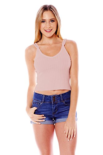 V Neck Two Strap Ribbed Knit Crop Top (Large, Taupe)