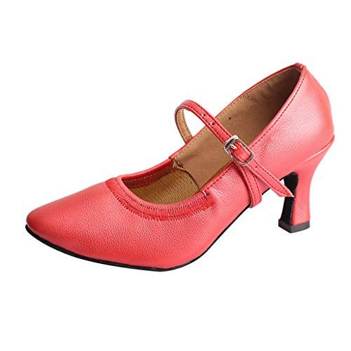 Shusuen ✯ Vintage Women Dancing Modern Dance Ballroom Latin Shoes Soft Bottom Fashion Elasticated Sandals (Tack Muck)