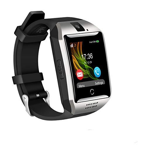 Bugear Q18 4G WiFi Smart Watch Sports Fitness Tracker Bluetooth Wrist Watch with Camera TF&SIM Card Slot Watch Phone (Silver)