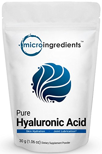 Pure Hyaluronic Acid Powder, Making Anti-Aging Serum, Supporting Internal Hydration & Joint Health, 30 Grams. Non-Irradiated, Non-Contaminated, Non-GMO and Vegan ()