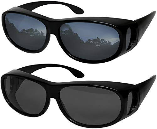 Fit Over Sunglasses Polarized Lens Wear Over Prescription Eyeglasses 100% UV Protection for Men and ()