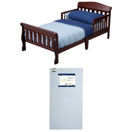 Find Discount Delta Children Canton Toddler Bed, Cherry with Serta Perfect Start Crib and Toddler Mattress