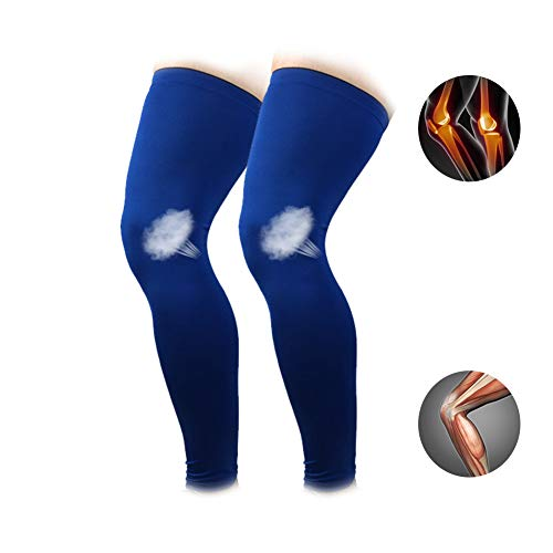 Sports Kneepads Blue Long Leg Sleeves 1 Pair Blue Compression Long Leg Sleeves Knee Support Protector for Basketball Workout Gym Running Cycling Crossfit Football Sport,XXL