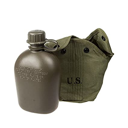 ixaer Army Stainless Steel Canteen 1qt Military with Camouflage Nylon Cover Best for Camping and Hiking