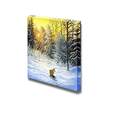 Canvas Prints Wall Art - Winter Landscape with a Fox on a Decline - 12