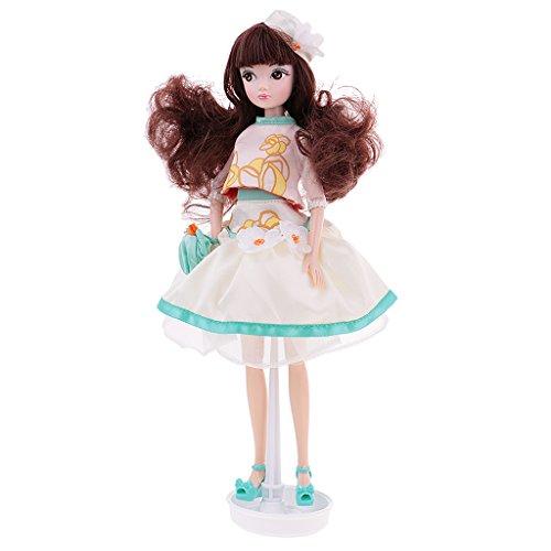 Jili Online Flexible 28cm/11inch Vinyl Body Jasmine Costume Kurhn Doll 10 Joints with Display Stand Fashion Fairy Style DIY Toy (Diy Jasmine Costumes)