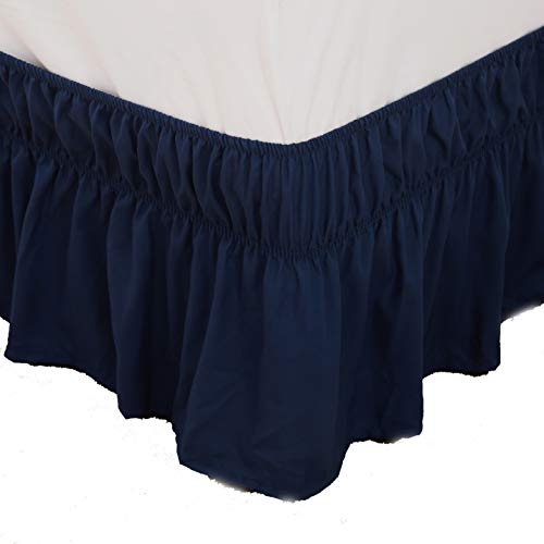 Bed Skirt-14 Inch Drop Wrap Around Ruffled (Twin/Full,Blue) Brushed Microfiber 1500 Adjustable Elastic Easy Fit