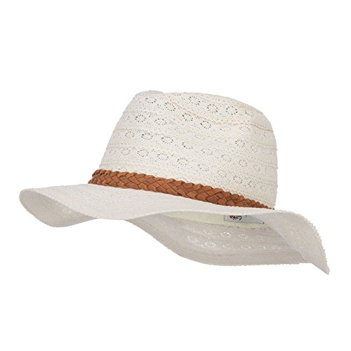 - Lace Fabric Poly Panama Hat - Ivory OSFM