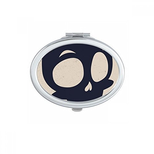 (Halloween Big Eyed Skeleton Oval Compact Makeup Pocket Mirror Portable Cute Small Hand Mirrors)
