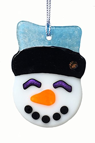 Turquoise Hat Fused Glass Snowman