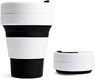 Amazon Com Stojo On The Go Coffee Cup Pocket Size Collapsible Silicone Travel Cup Black 12oz 355ml No Straw Included Kitchen Dining