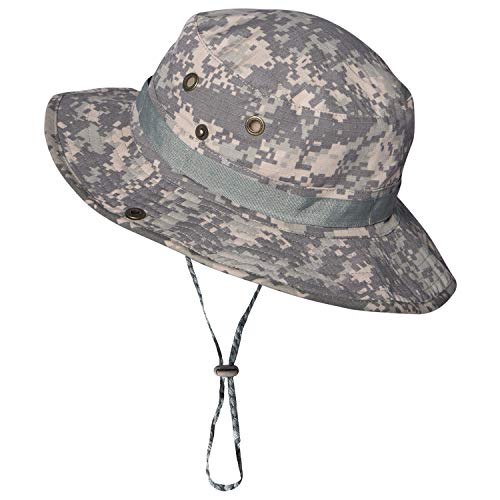 (Military Camo Boonie Hat Cap Cotton Mens Fishing Bucket Safari Sun Hat with Adjustable)