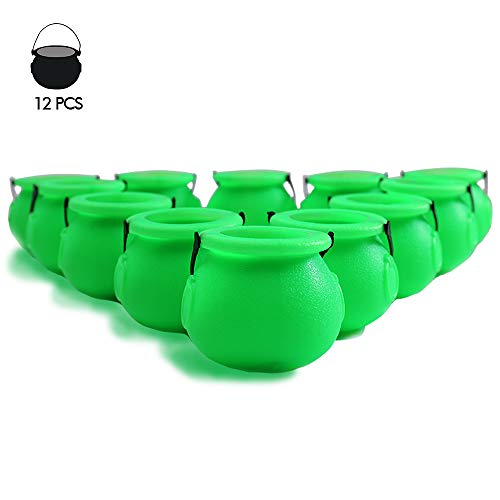 YoHold Mini Plastic Cauldron Pack of 12 and 36pcs Shamrock Patterned Tattoos for St Patrick's Day, Halloween Theme Party Decorations, 2 1/4-2 3/4