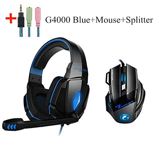 Combination Humanized Desgin LED Gaming Headphones with Microphone Stereo Led Headset + Gaming Mouse for PC Gamer PS4 New Xbox Laptop