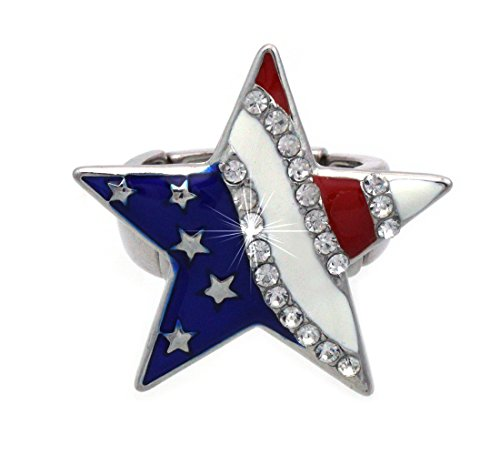 American Flag Ring - cocojewelry 4th of July American Flag Heart Star Stretch Resizable Band Cocktail Ring (Silver-tone Star)