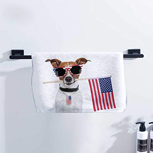 Dog Lover Decor Microfiber Hair Towel American Dog with USA Flag and Shades Sunglasses Anniversary Independence Liberty Image Hand Towels W27 x L14