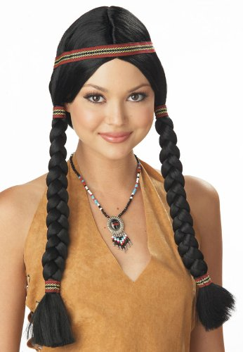 Indian Costumes Female (California Costumes Women's Indian Maiden Wig, Black, One Size)