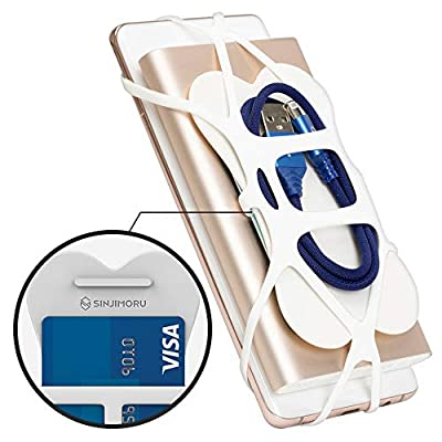 Sinjimoru Silicone Phone Holder for iPhone and Cell Phone, Functions as Phone Grip and Phone Wallet, Silicone Band Holder Plus, White: Electronics