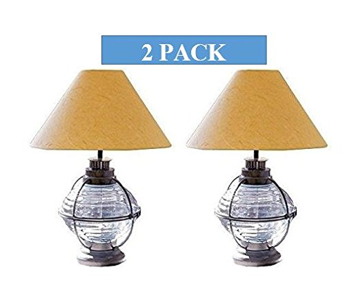 19'' Nautical Ship's-bouy Style-caged Onion Lamp-zinc Light Blue w/ Shade 2 Pack
