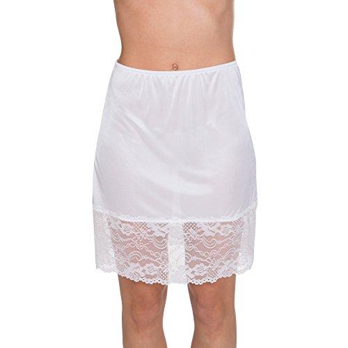 Lace Slip Half Slip - Kathy Ireland Women's Silky Soft Lace Hem Half Slip White Large