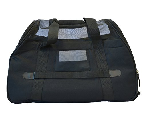 KritterWorld Soft Sided Pet Travel Carrier for Small Dogs and Cats Puppy Small Animals Airline Approved | Removable Sherpa Lining Bed, Built-in Collar Buckle, Lost & Found Tag Included by Black by KritterWorld (Image #5)