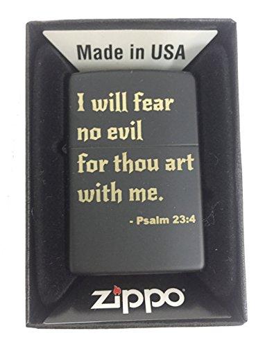 Zippo Custom Lighter - I Will Fear No Evil Bible Verse Psalm 23:4 - Black Matte