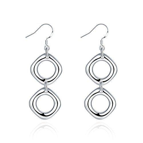 Gnzoe Silver Plated Women Hoop Earrings Silver Double Four Squares with Circle