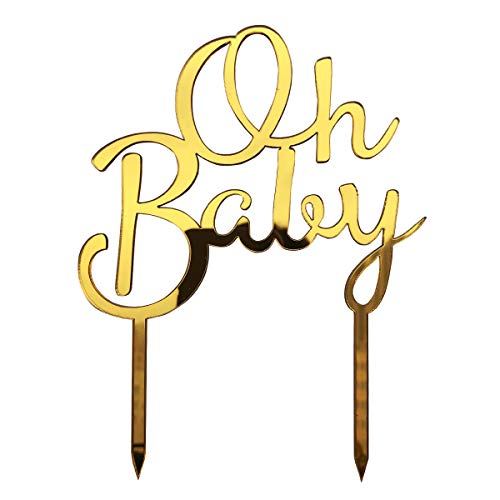 Price comparison product image Baby Shower Cake Topper 4.5 x 6 INCH OH BABY Cake Decoration for Girl or Boy Gender Reveal Party Supplies (Mirror Surface in Gold)