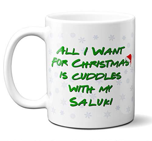 Funny Saluki Christmas Gift Mug. All I Want For Christmas. Coffee, Tea Mug, Cup. Perfect Dog Owner, Lover Gift, Christmas Ornament, Birthday, Fathers Day, Mothers Day. 11 ounces.