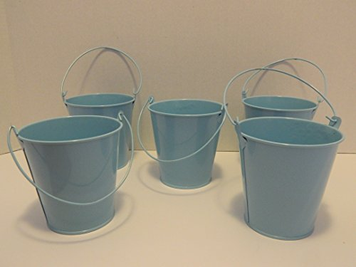 Small Metal Tin Pails with Handles 12 Pieces (Blue Tin Pails)