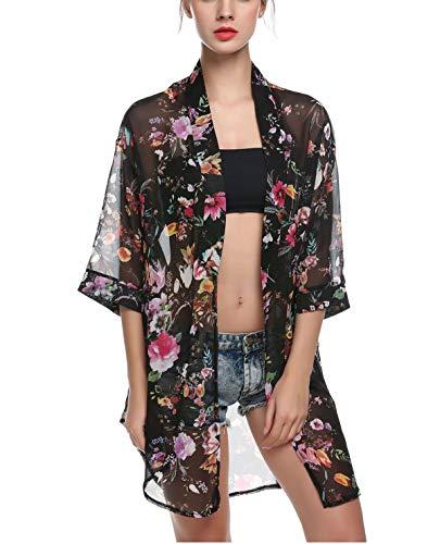 Akery Women's Floral Chiffon Kimono Cardigan Blouse Beach Cover up,X-Large,Black