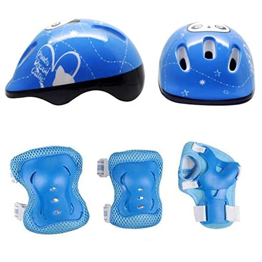 Amyove-Kids-Adjustable-Helmet-Sports-Protective-Gear-Set-Knee-Elbow-Pads-Wrist-Guards-for-Roller-Bicycle-Bike-Skateboard-and-Other-Extreme-Sports-Activities7pcsSet