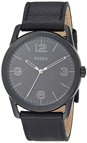 Fossil Men's Ledger Stainless Steel and Leather Casual Quartz Watch