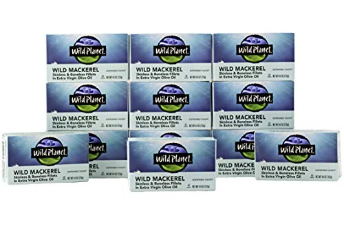 Wild Planet Wild Mackerel Fillets in Organic Extra Virgin Olive Oil, Skinless & Boneless, 3rd Party Mercury Tested, 4.4 Ounce (Pack of 12) ()